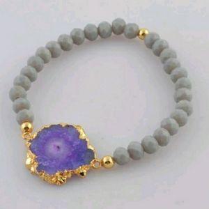 Purple solar Quartz stretche bracelet